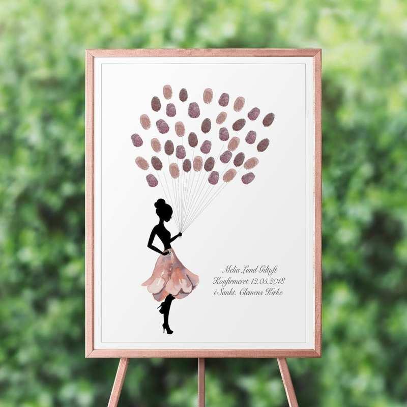 Gæstebog fingeraftryk rosa nederdel
