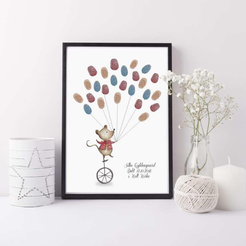 Gaveprint cirkusmus balloner fingeraftryk
