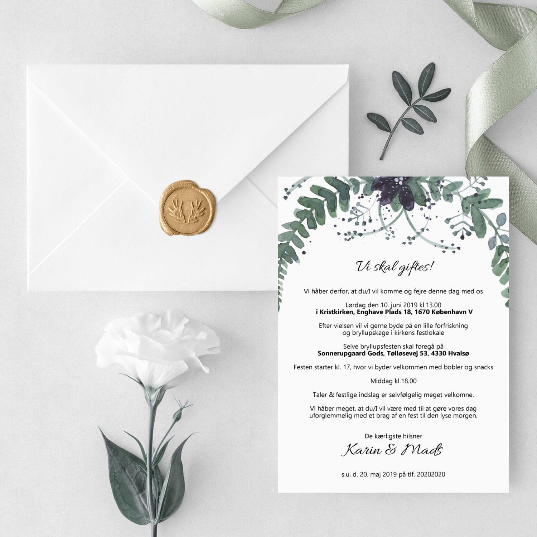 oh så simple, invitation til bryllup
