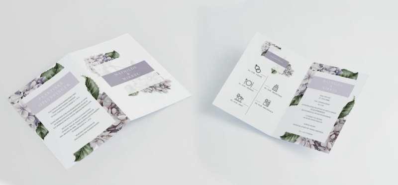 lavender hydrangea A4 invitation