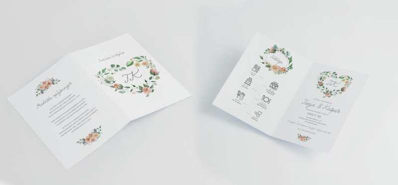 pale rose A4 invitation