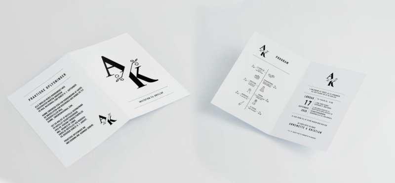 split monogram A4 invitation