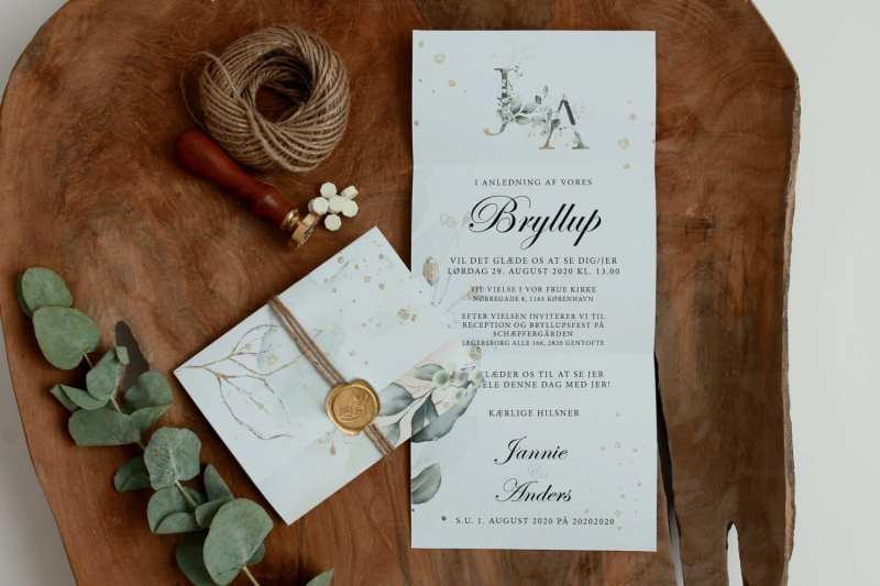 gold leaf rullefals invitation, bryllup