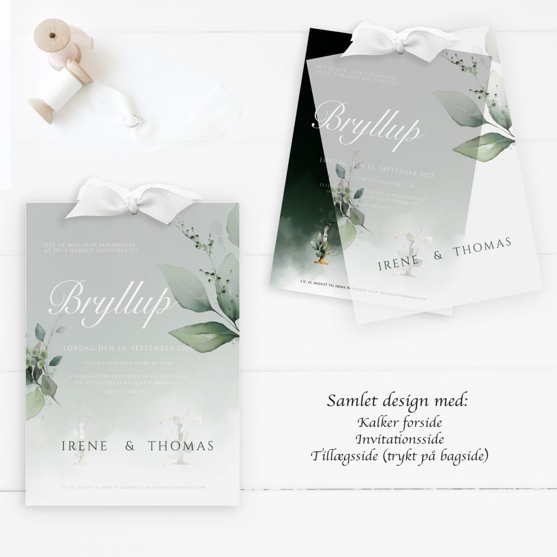 dark green invitation til bryllup