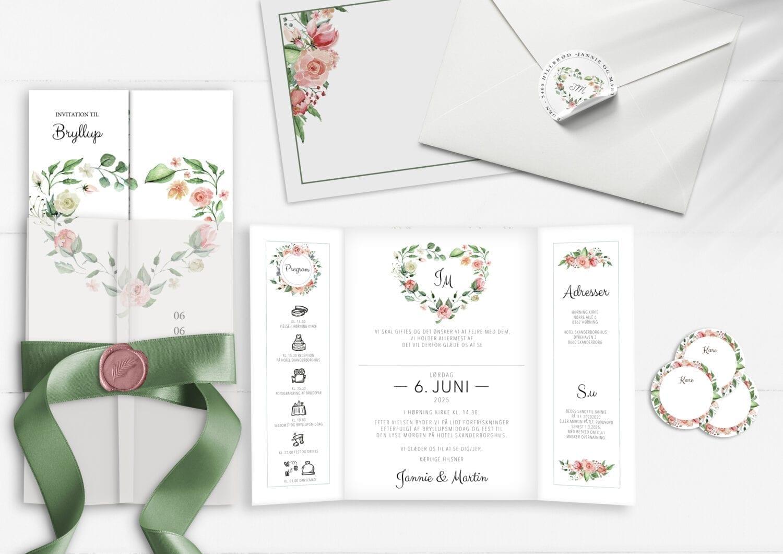 pale rose portefals invitation, bryllup