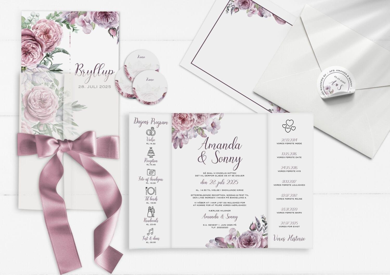 bryllupsinvitation, boheme dreams, portefals, lyserøde roser