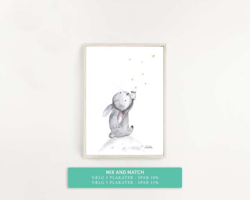 kanin samler stjerner, plakat til børneværelset