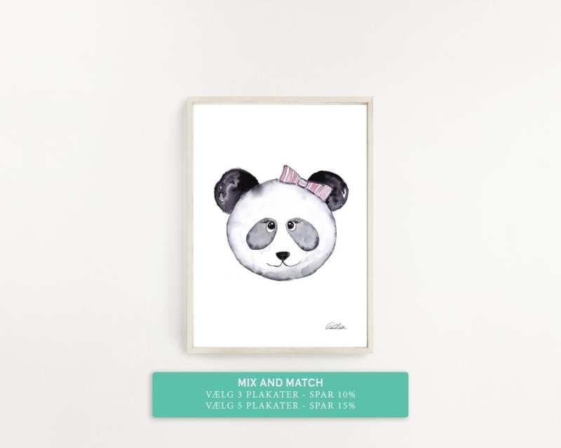 plakat til børneværelset, panda med lyserød sløjfe
