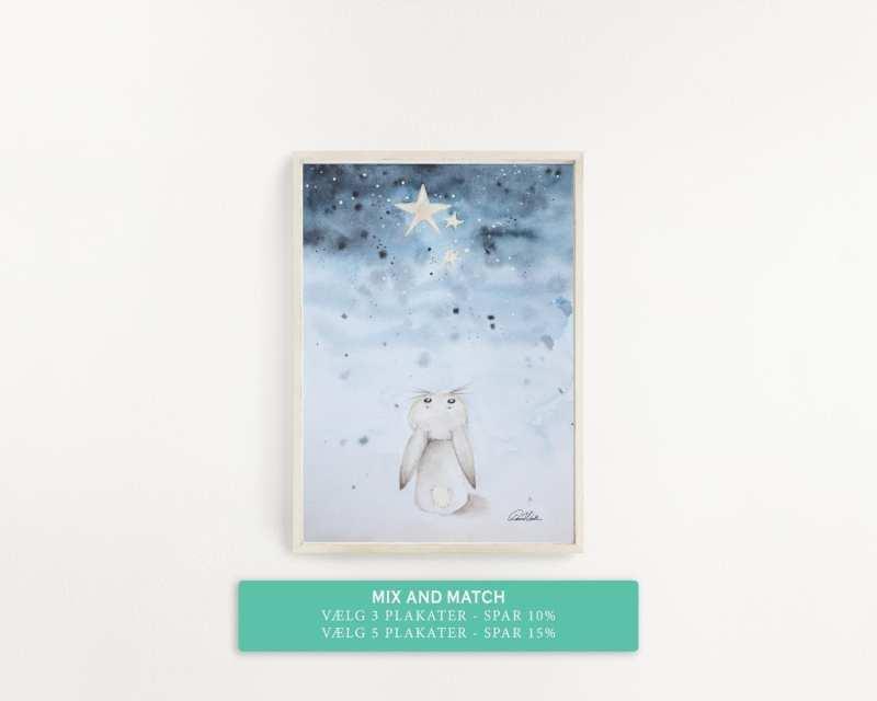 kanin kigger på stjerner, plakat til børneværelset