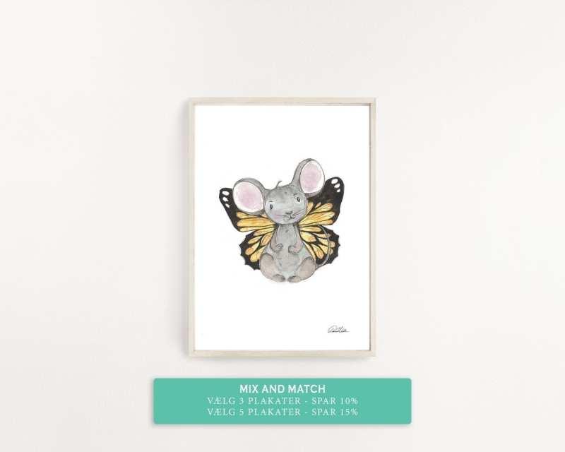 børne plakat lille mus med gule vinger