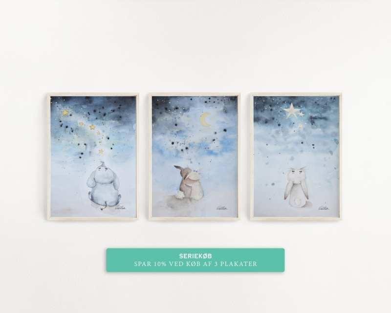 Plakat serie vandfarve kanin og elefant