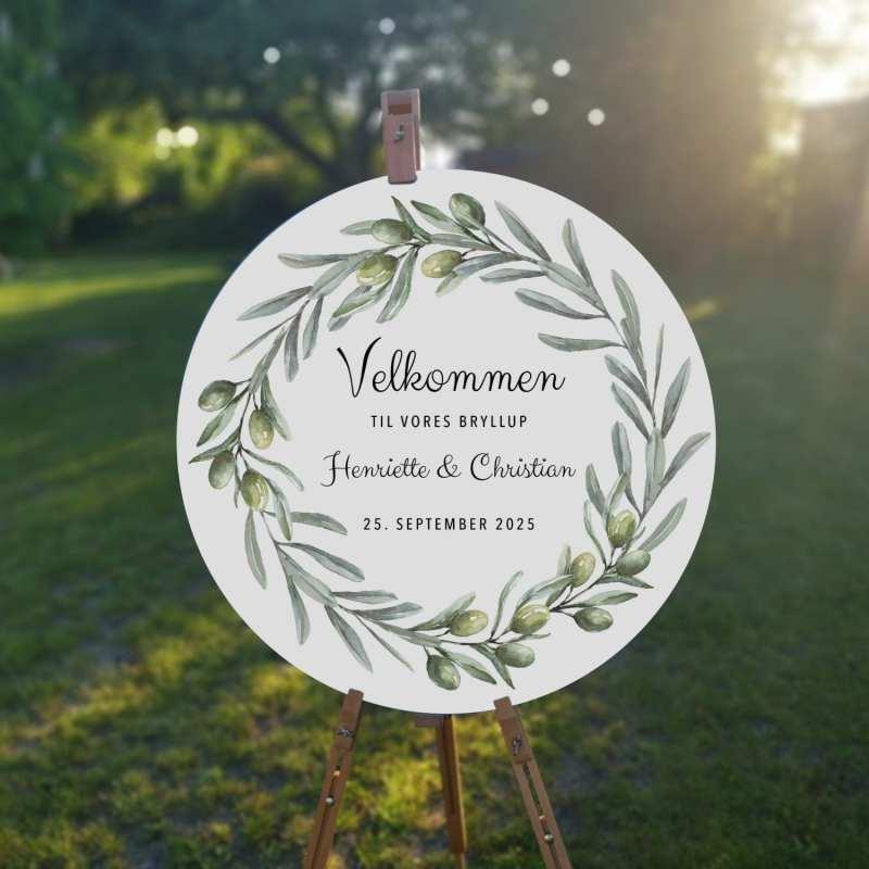 velkomstskilt. olive garden. Olivengren. natur. grønne blade.