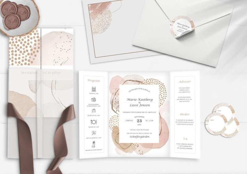 Lyst og enkelt design til bryllupsinvitation