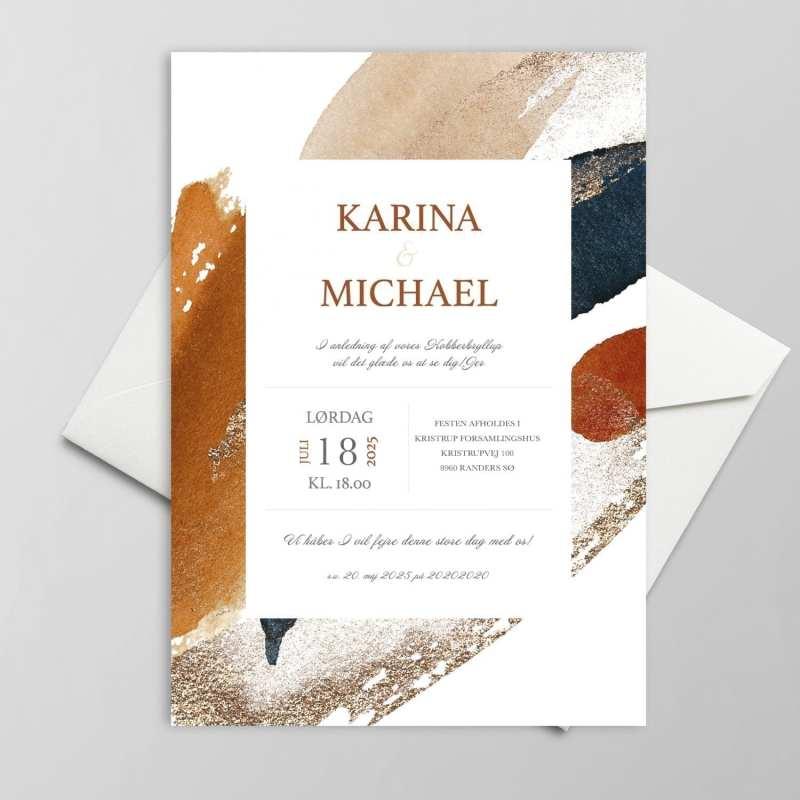 Anderledes invitation med kant bryllup