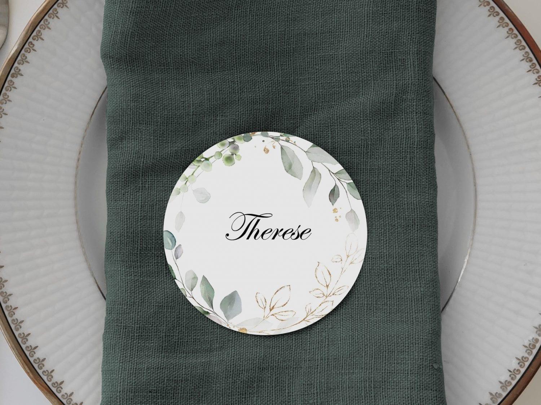 Gold Leaf, runde bordkort, bryllup