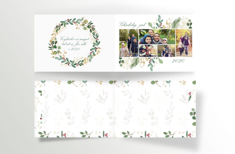 personliggjort julekort med krans