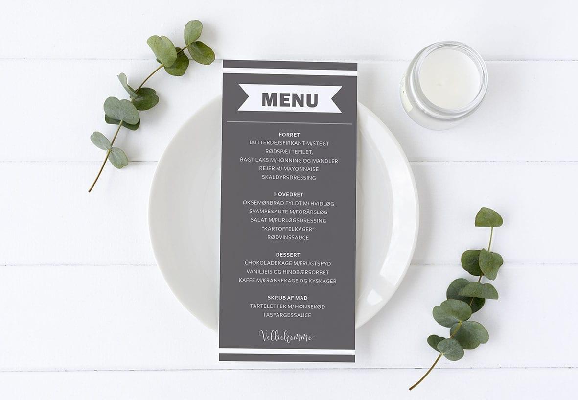 menukort grå barnedåb