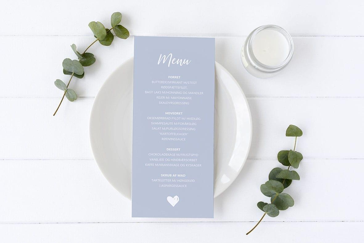 menukort med hjerter blå barnedåb