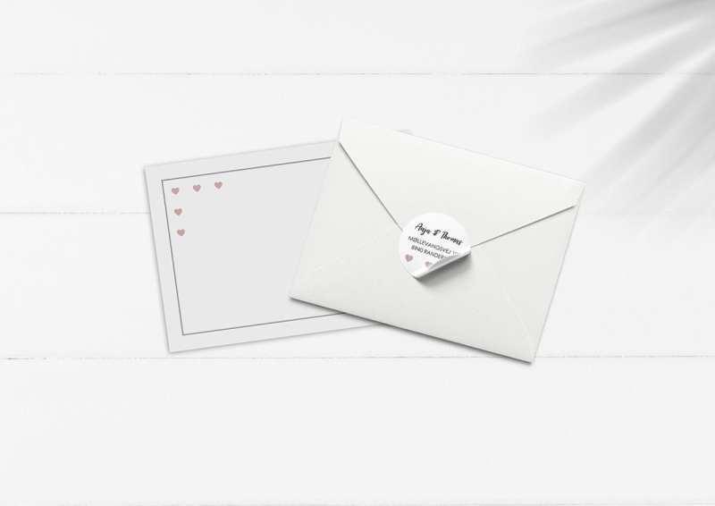 kuvert pakke med stickers hjerter anne sophie