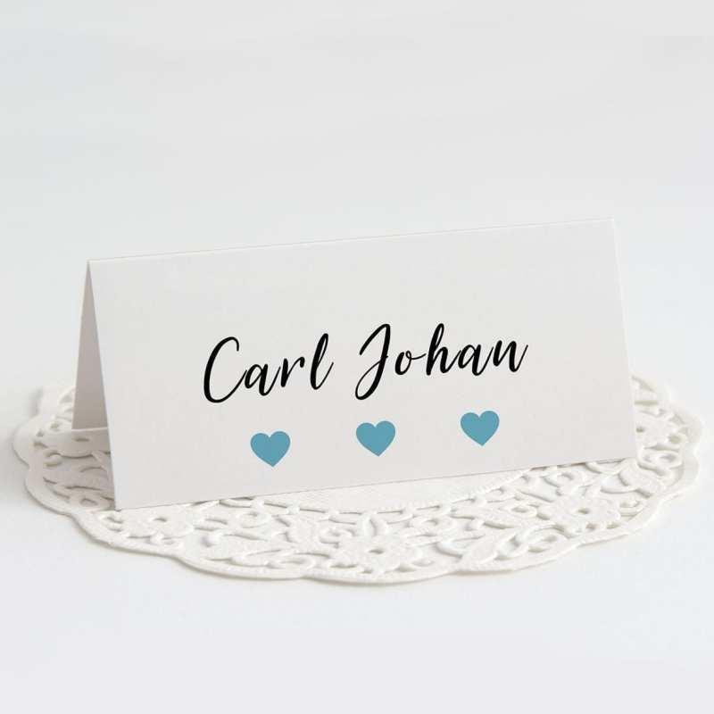 Bordkort barnedåb turkis Carl johan