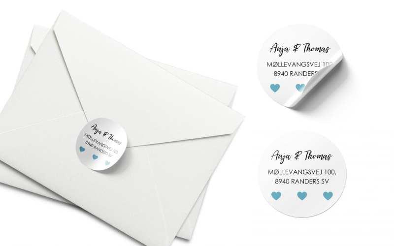 Stickers barnedåb blå hjerter