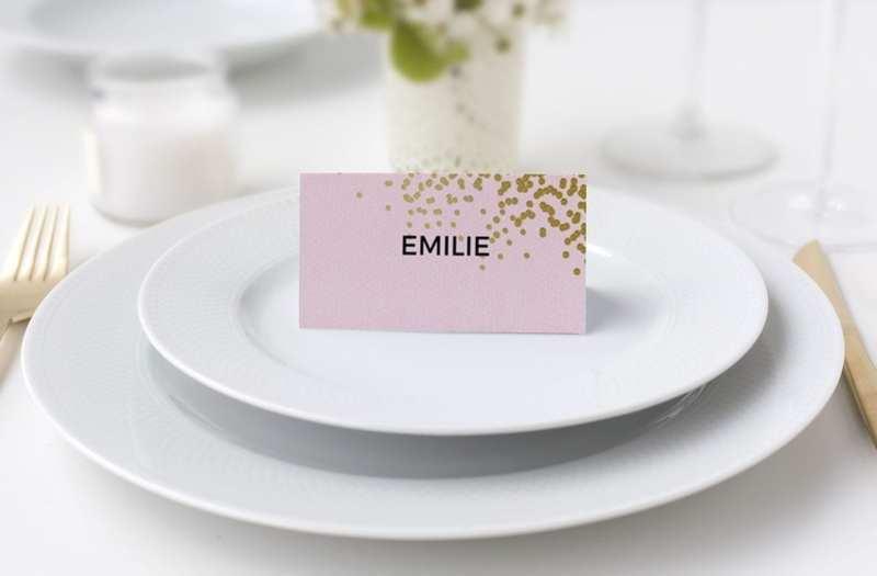 Bordkort konfirmation dot dot lyserød og guld