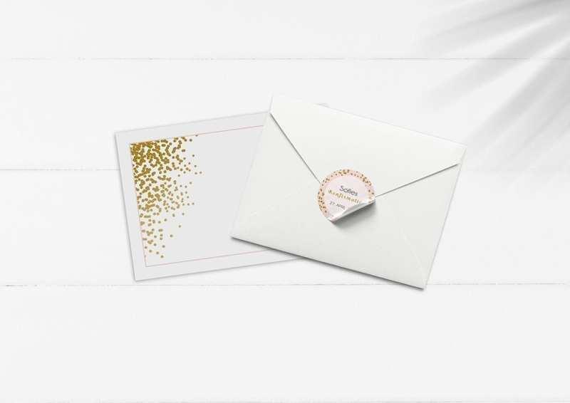 kuvert pakke med stickers lyserød og guld glimmer