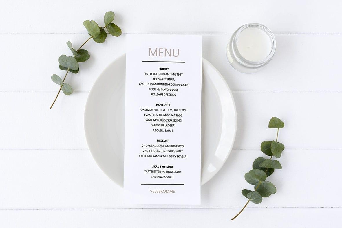 menukort med streger enkelt elvira