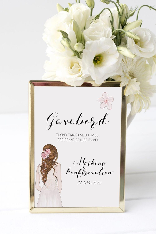 gavebord skilt konfirmation flower girl