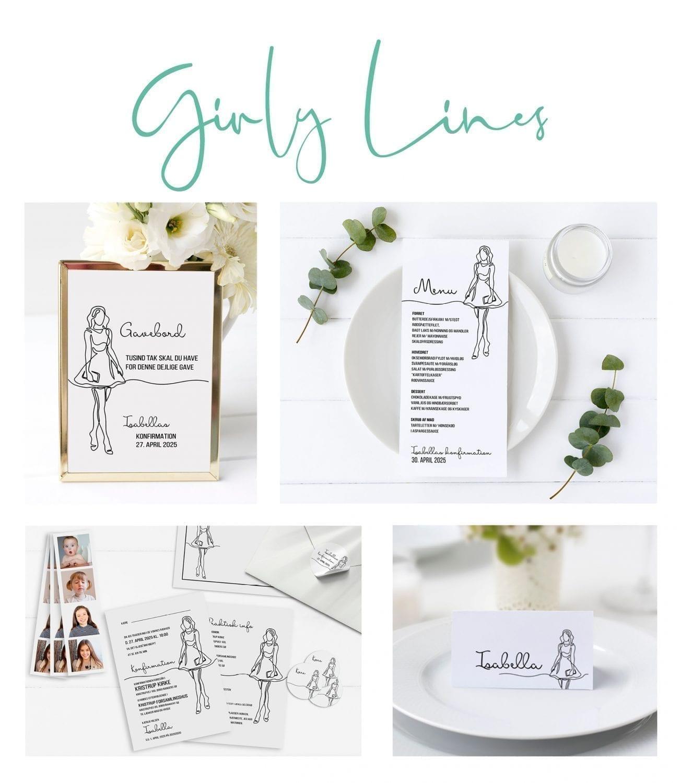 konfirmation pige sort og hvid invitation