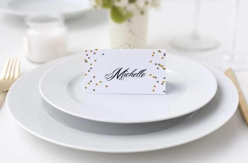Bordkort konfirmation glimmer og glitter