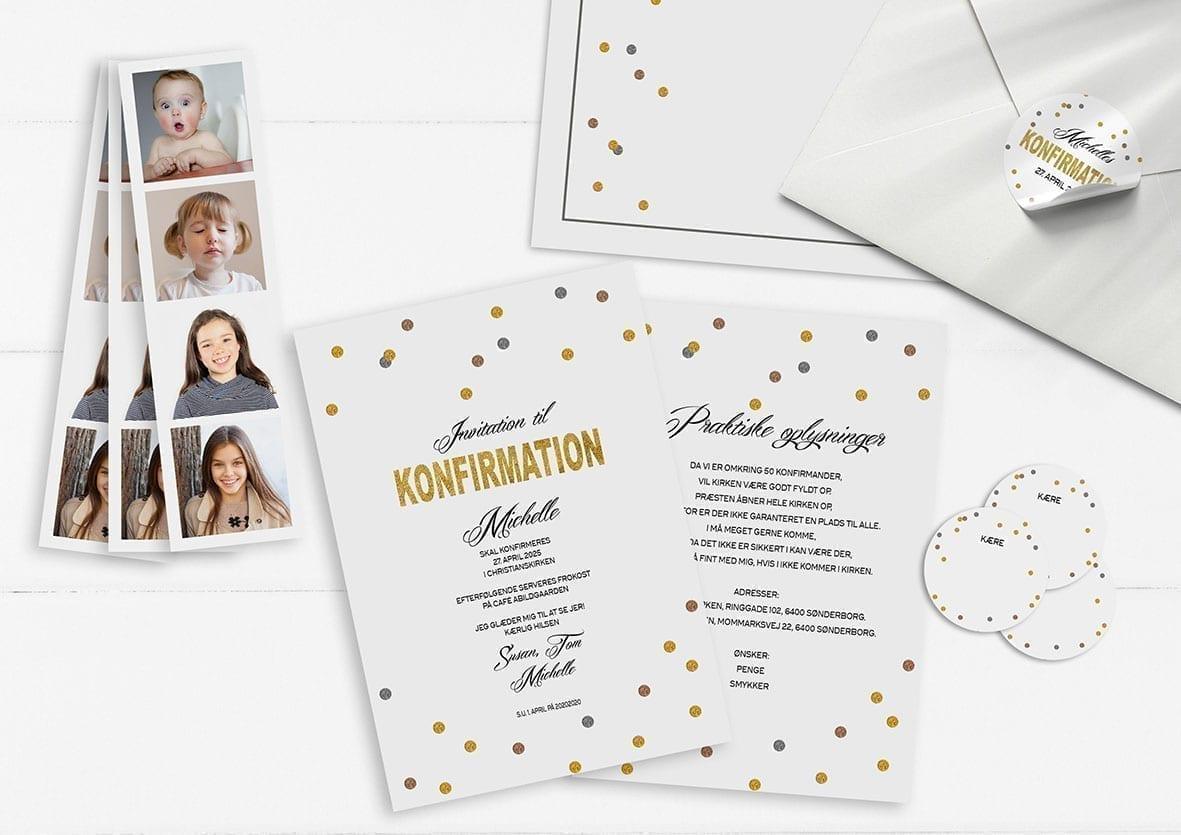 Invitation. Konfirmation. Pige. Prikker. Glitter. Guld