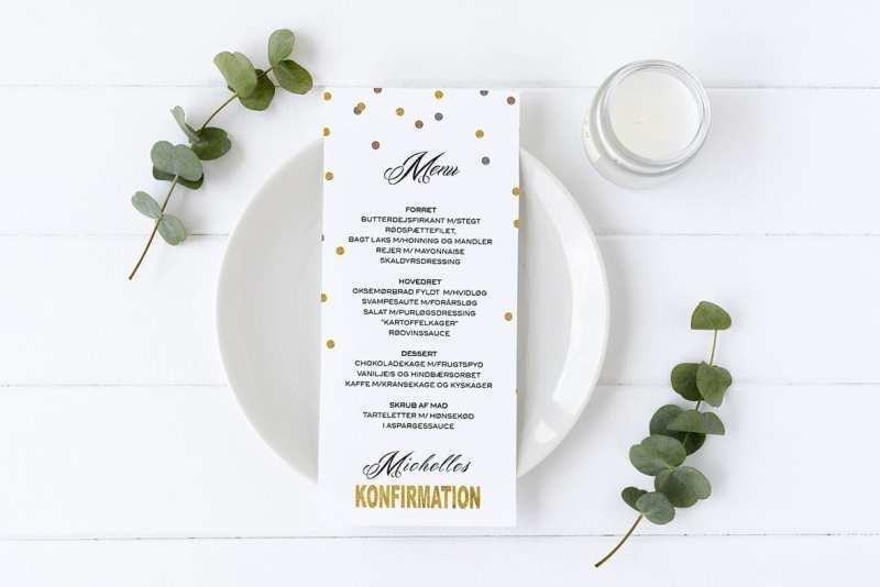 menukort konfirmation glittery guld glimmer