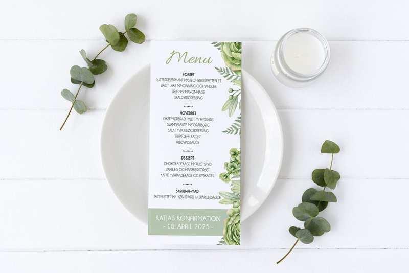 menukort konfirmation grøn go green