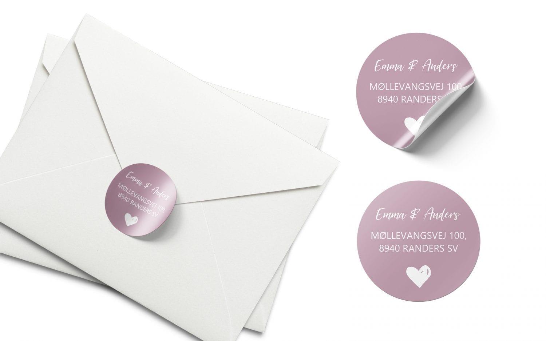 Stickers barnedåb rosa hjerte