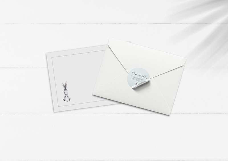 kuvert pakke med stickers kanin lyseblå