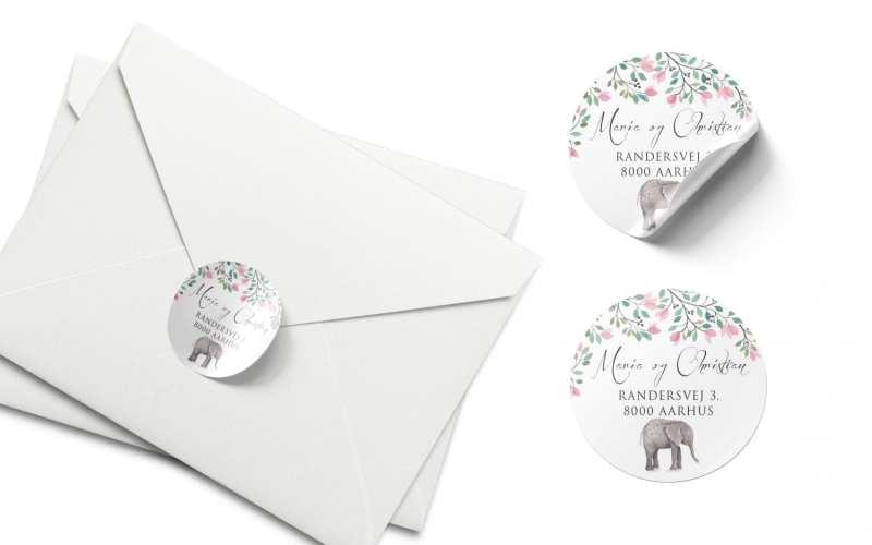 Stickers barnedåb melia elefant