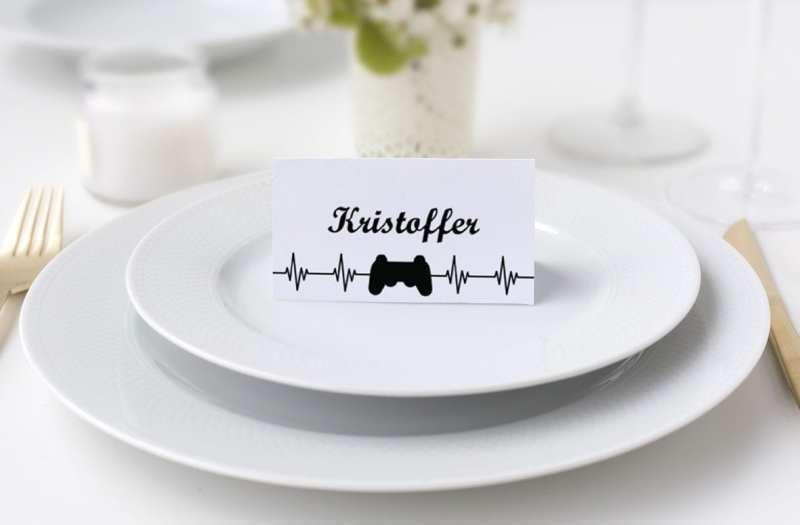 Konfirmation dreng bordkort playstation sort og hvid