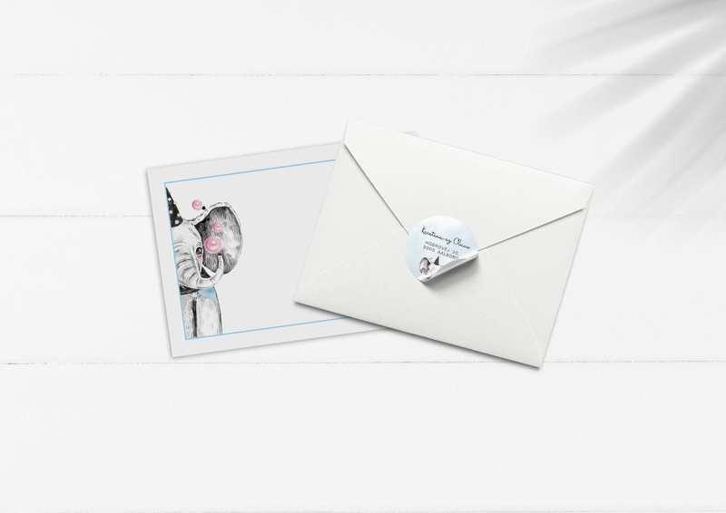 kuvert pakke med stickers elefant sæbebobler fest