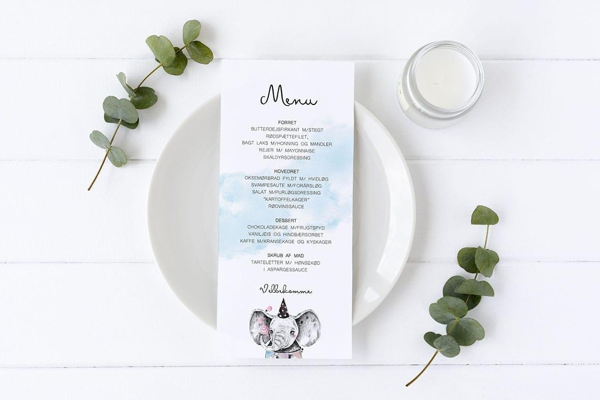 menukort til barnedåb elefant selma