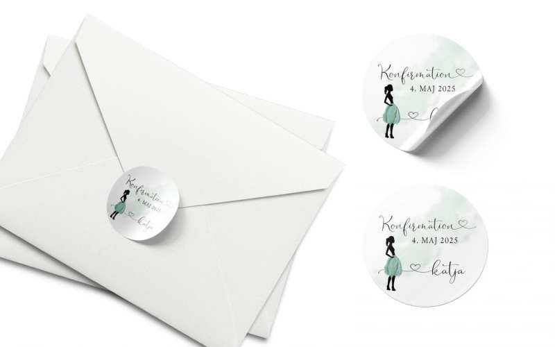 stickers konfirmation silhuette green