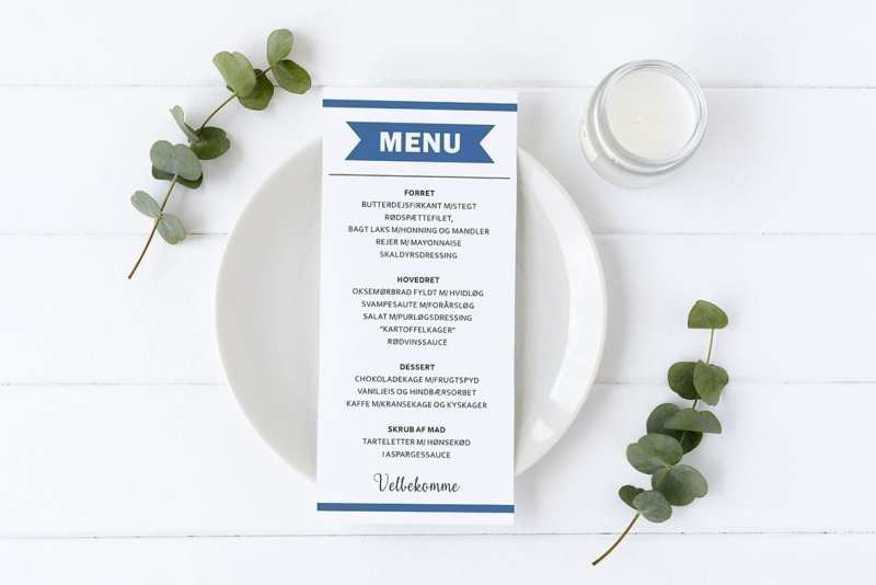 menukort med banner mørkeblå