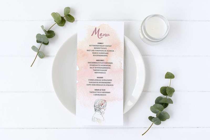 menukort konfirmation watercolor lyserød