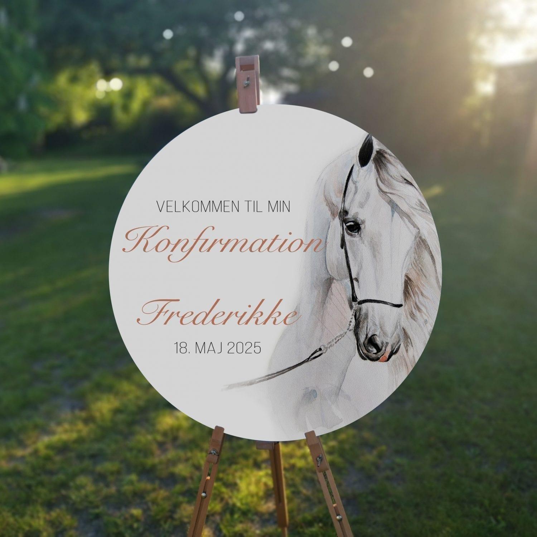 velkomstskilt. watercolor horse. konfirmation. pige. hest. hestepige. hvid hest