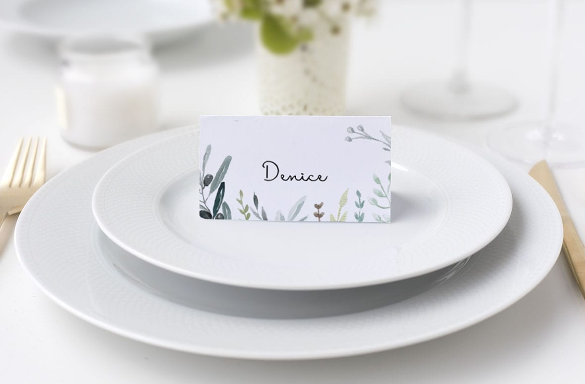 grøn bordkort