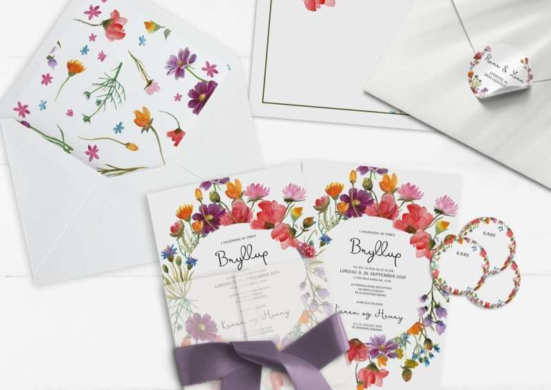 invitation farverig blomster wild flowers