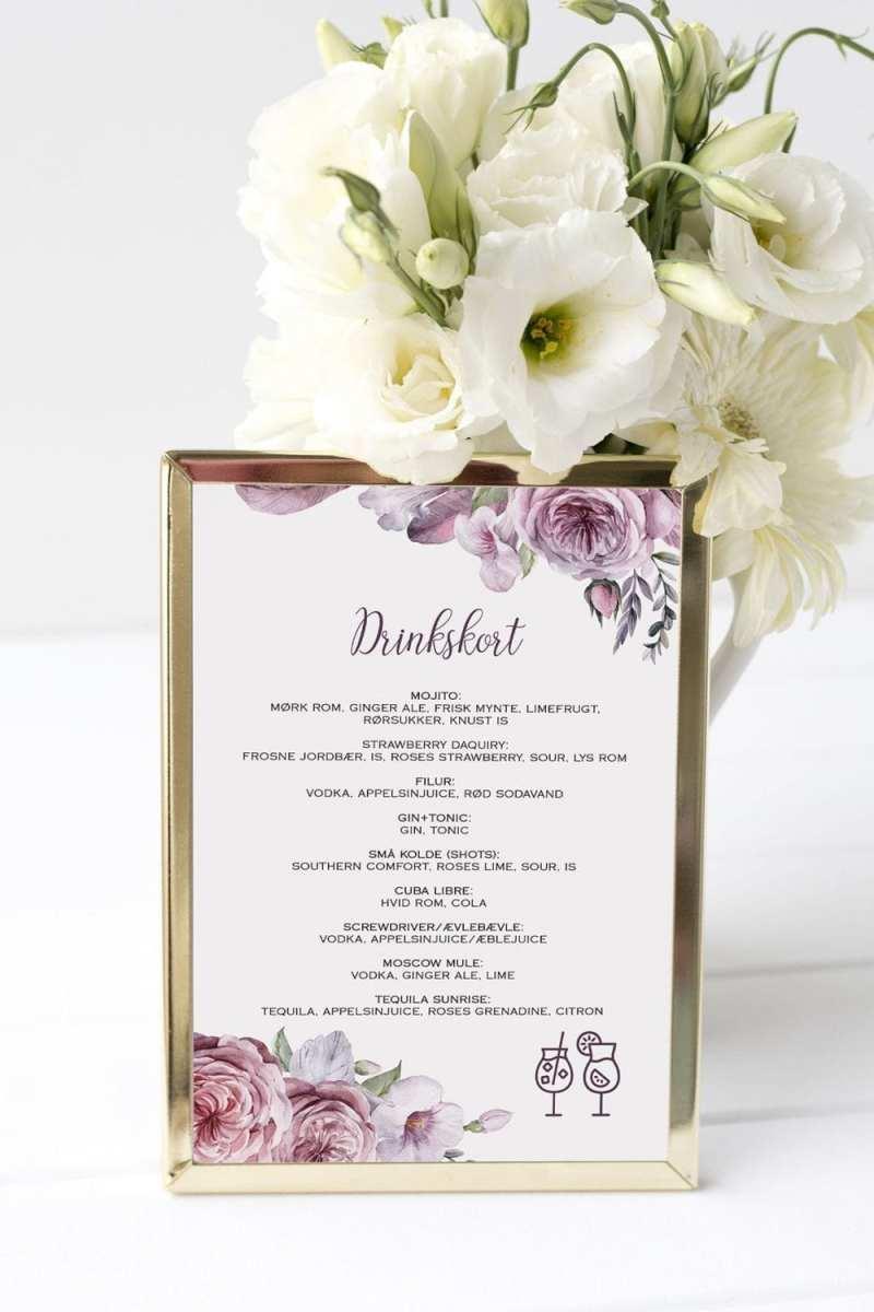 drinkskort, ramme, boheme dreams, bryllup