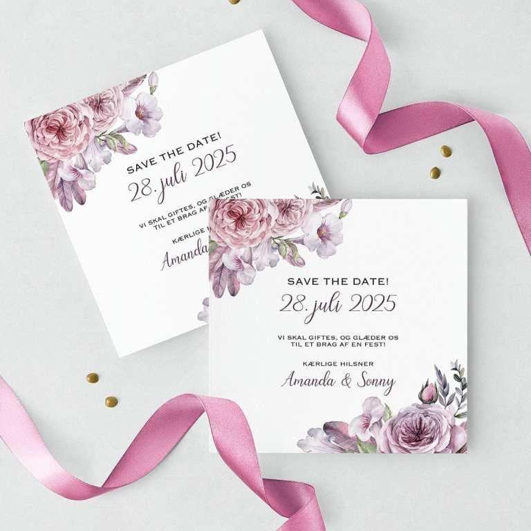 Save the date kort bryllup lilla boheme