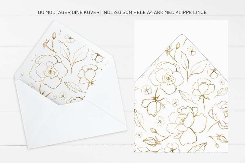 Bordeaux Bloom, kuvertindlæg, bryllup