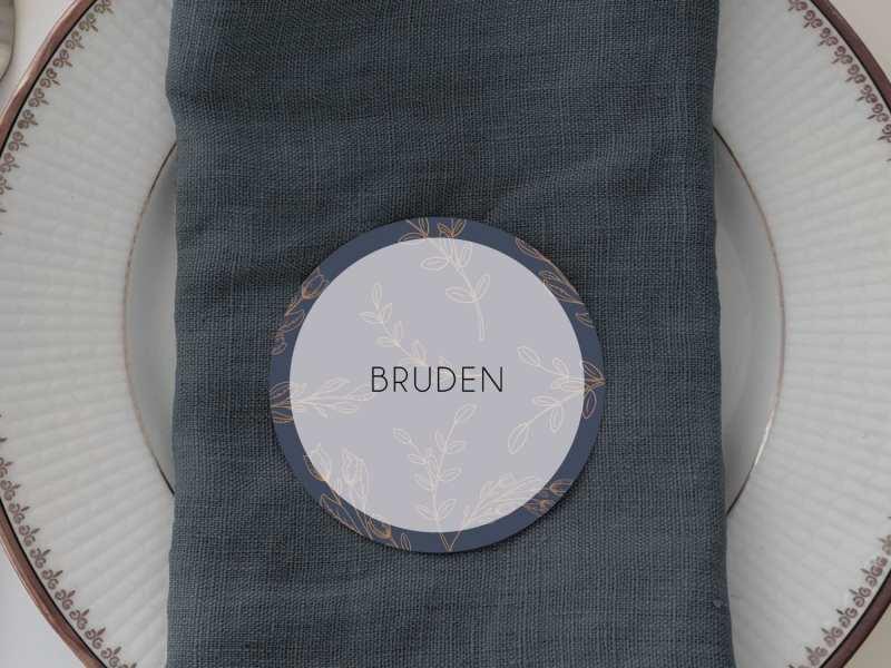 Branch Bronze, runde bordkort, bryllup